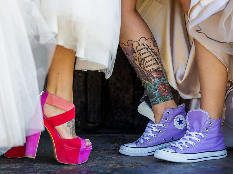 bride in bright platforms and bride in sneakers