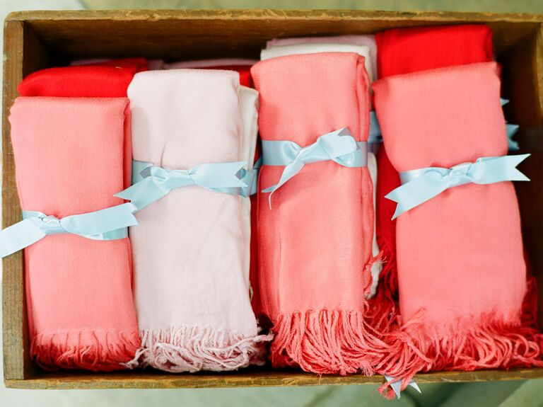 Living Coral Scarves Wedding Favors