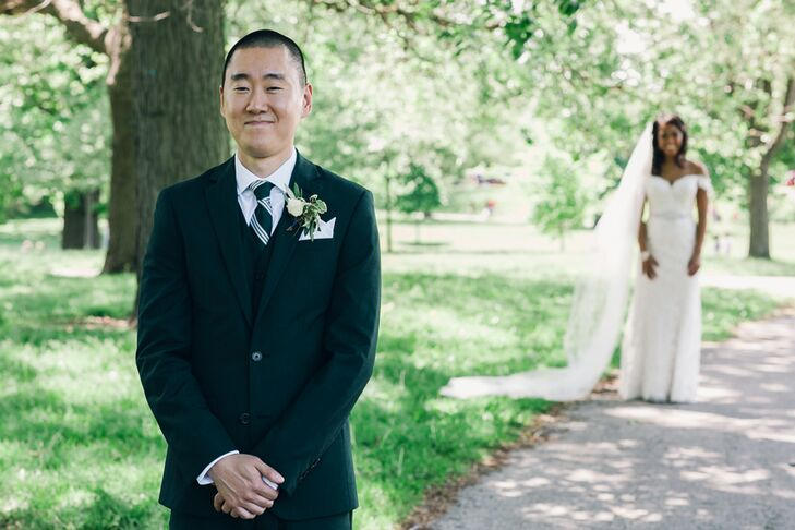 """Trevin's green suit was the first decision made during wedding planning, """"and it was a great one,"""" Marla says. """"Unexpected but still elegant."""""""