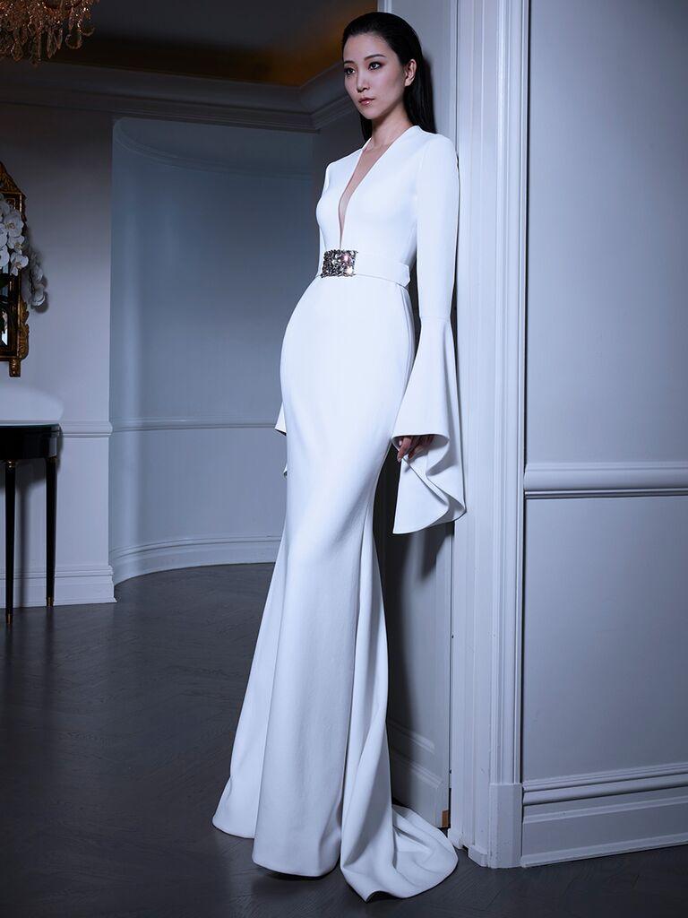Romona Keveza wedding dress long sleeve