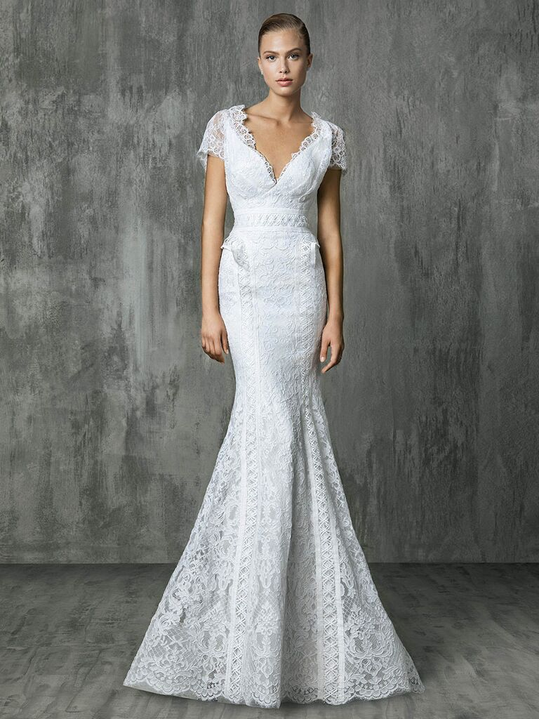 Victoria Kyriakides Fall 2018 wedding dresses with allover Chantilly lace