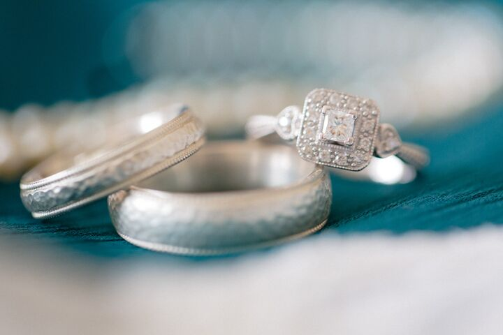 Hannah's diamond and silver engagement ring is gorgeous, and matches Barrett's hammered silver wedding band perfectly.