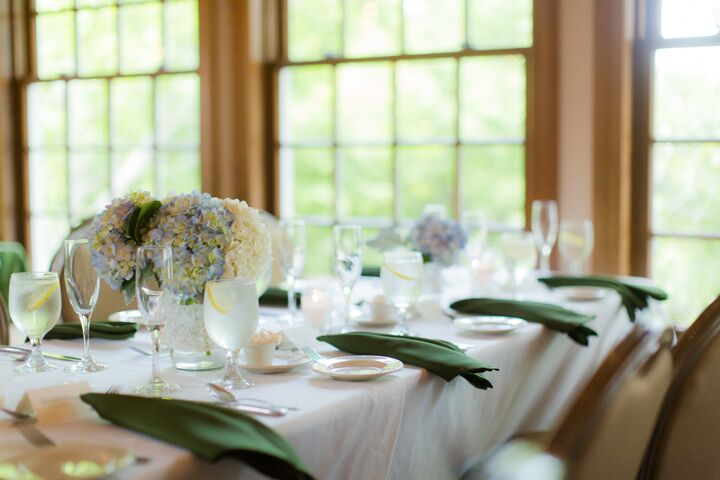 """""""We were going for an elegant country wedding feel, and I'm pretty sure that's what we got,"""" Hannah says. """"We had lace, mason jars and hydrangeas."""""""