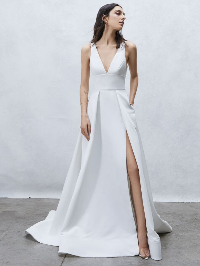 Alyne Collection sleeveless A-line wedding dress with V-neck