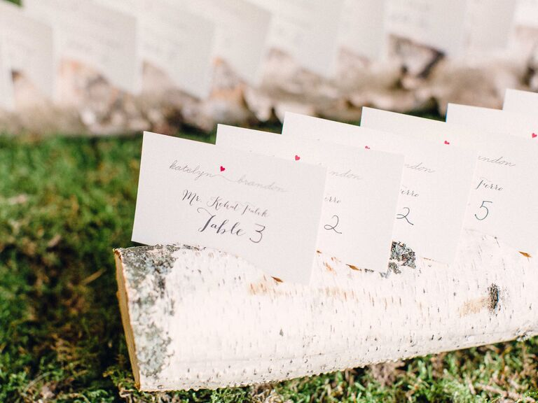 Reception escort card display with birch log and moss