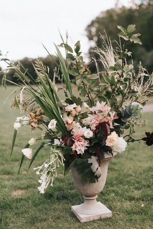 Greenery and Blush Pink Flower Arrangement