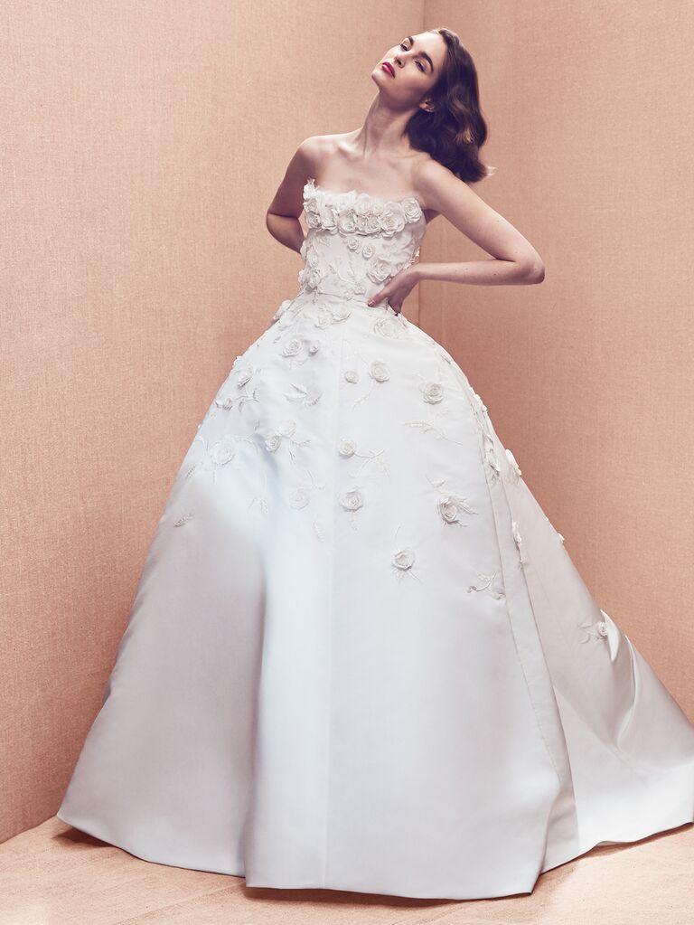 Oscar de la Renta Spring 2020 Bridal Collection ball gown strapless wedding dress with floral appliqué