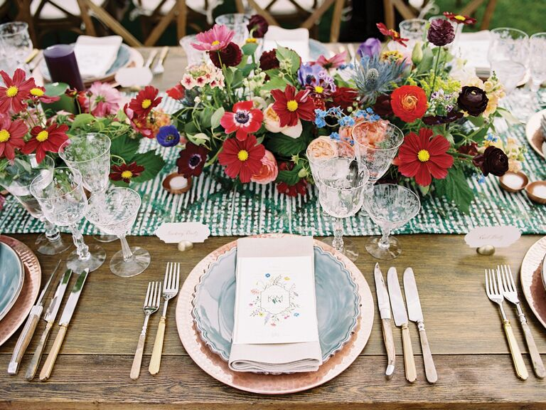 spring wedding centerpieces runner made of colorful flowers