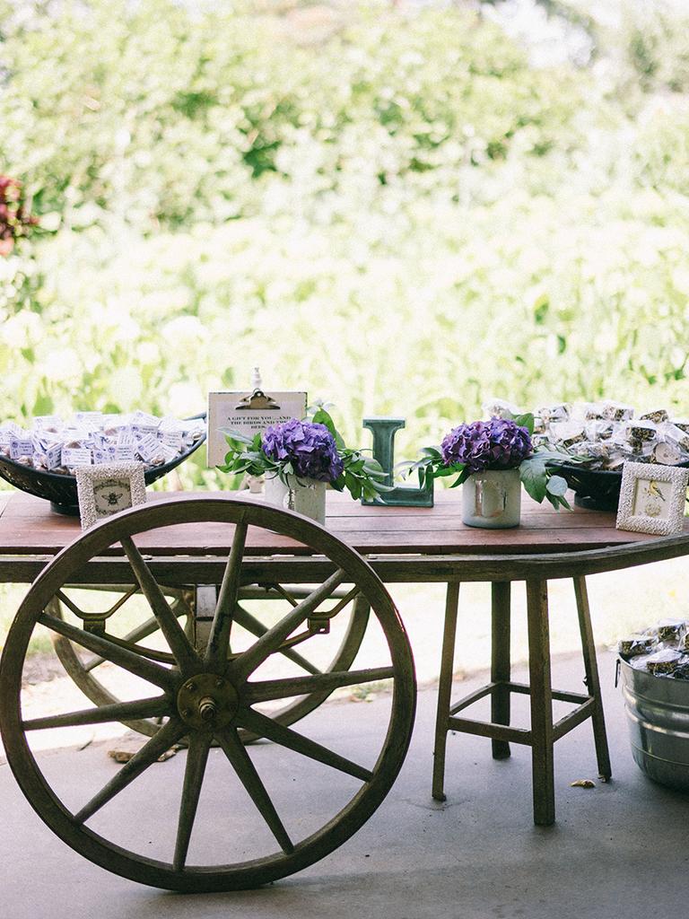 rustic wedding favor display ideas