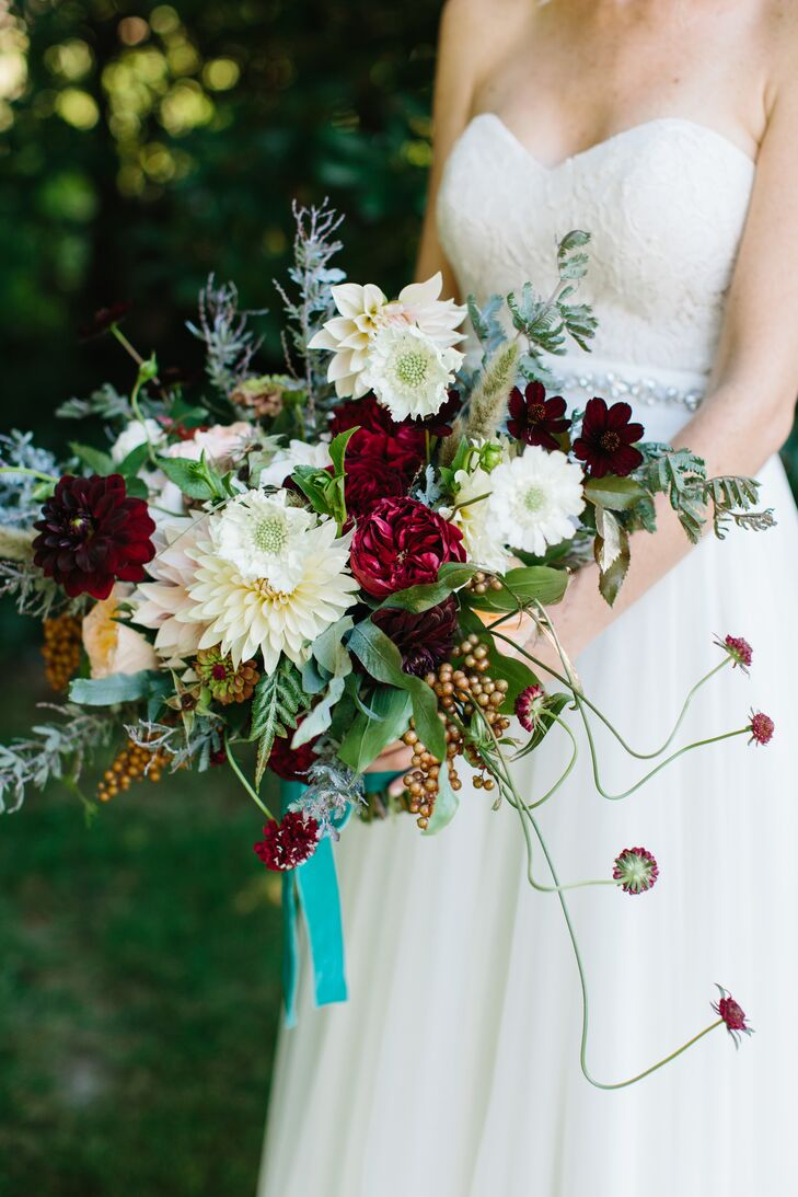 Organic Bohemian Bouquet with Scabiosa and Dahlias