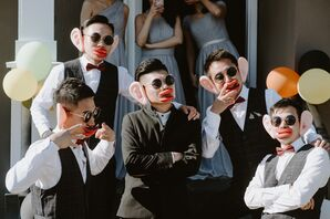 Fun Groomsmen with Photo Props
