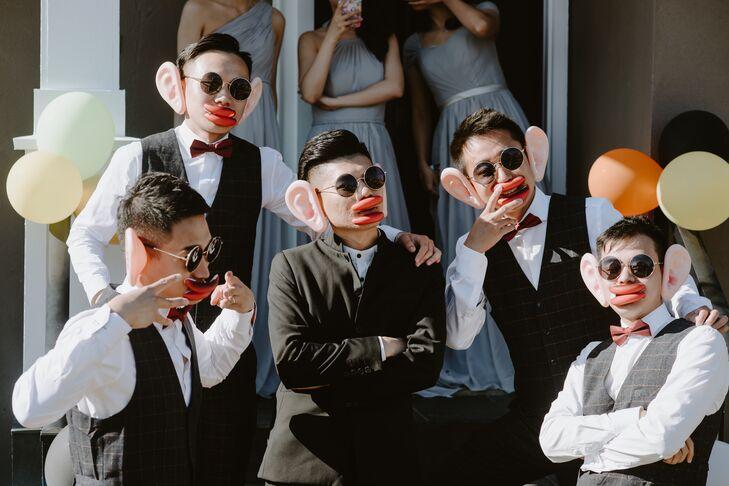 Fun Groomsmen with Photo Props