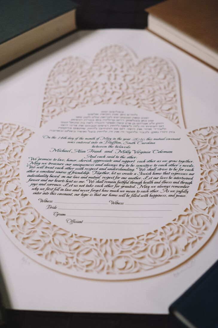 After their ceremony, following the Jewish tradition, Molly and Michael signed a ketubah. Theirs was made in an elegant white lace motif, perfectly suited to the couple's modern style.