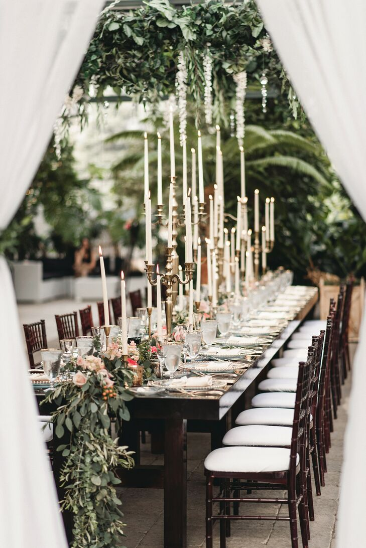 Taper Candles on Reception Tables at Planterra Conservatory in Detroit, Michigan