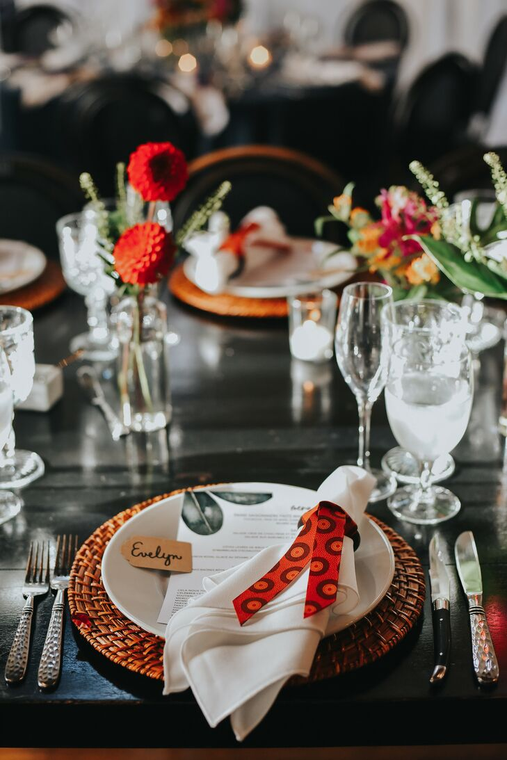 Tropical Place Setting for Reception at Ebell Long Beach in California