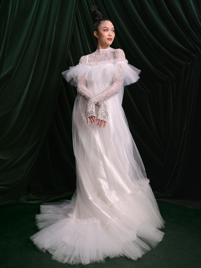 Wiederhoeft white mikado wedding dress with sheer tulle overlay