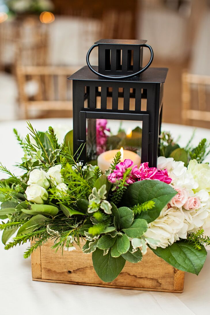 Black Lantern Centerpiece With Fresh Greenery