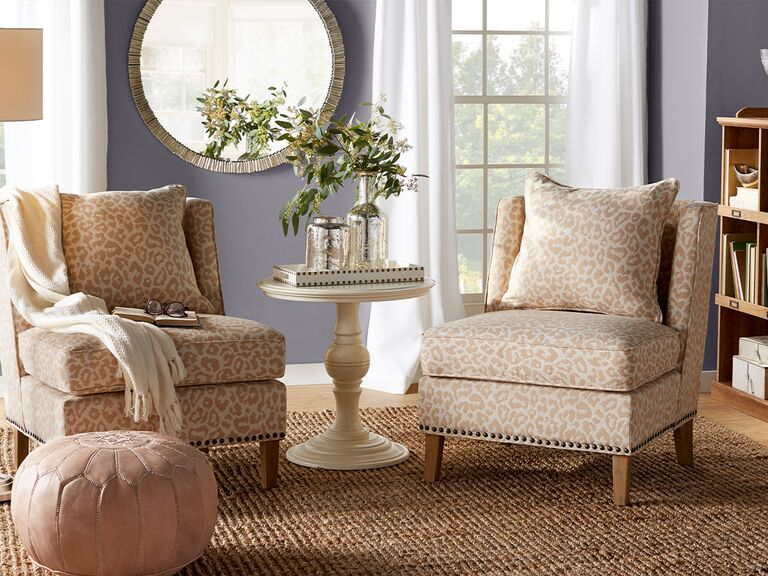 living room with patterned chairs from wayfair