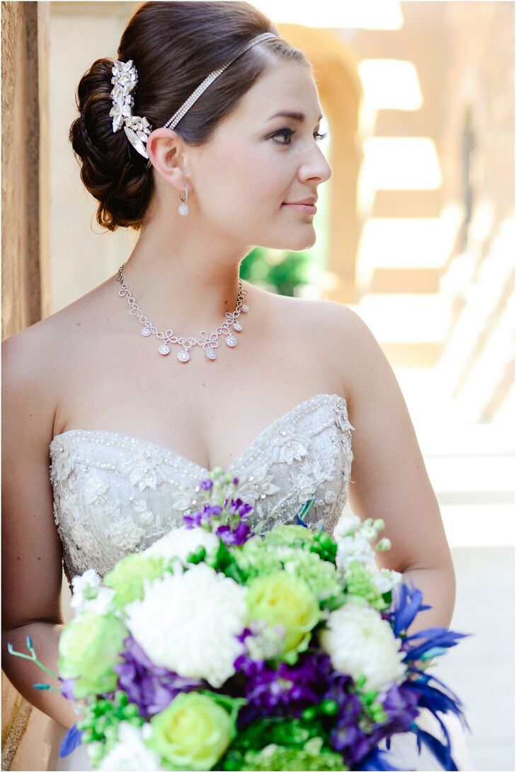 Bride Wearing Diamond Jewelry