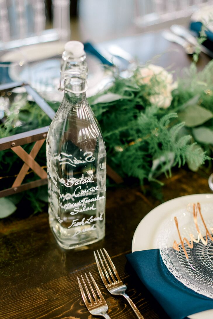 Menu Written on Swing-Top Glass Bottle of Water