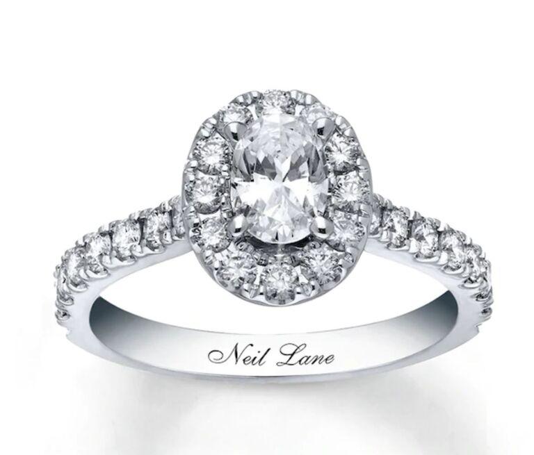 halo oval engagement ring neil lane