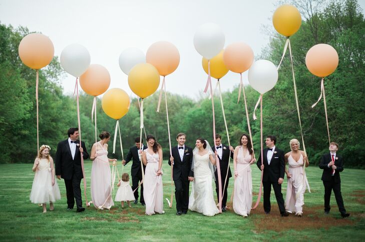 Formal Blush and Black Wedding Party