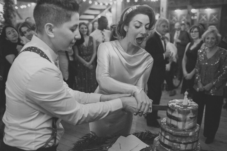 In addition to a variety of French macarons, Shane and Lexie treated their families and friends to a slice of naked chocolate whiskey caramel cake from Tandom Coffee and Bakery in Portland, Maine, which they they topped with a Dia de los Muertos cake topper.