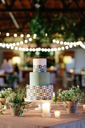 Geometric Tiered Fondant Cake
