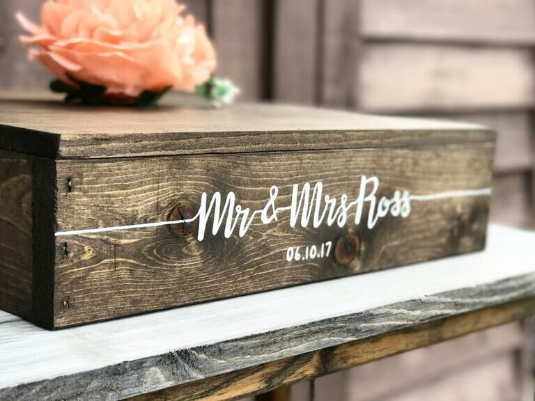 Square wooden rustic wedding cake stand hand-painted with couple's names and date