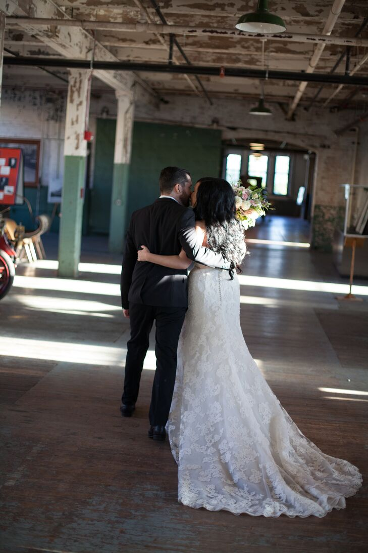 """""""It was very important to my husband that our ceremony be as traditional as possible and focused on us and the exchanging of the rings,"""" Ashley says. """"He actually wrote the entire script for our officiant, including the vows. I was completely okay with this since he truly has a way with words."""""""