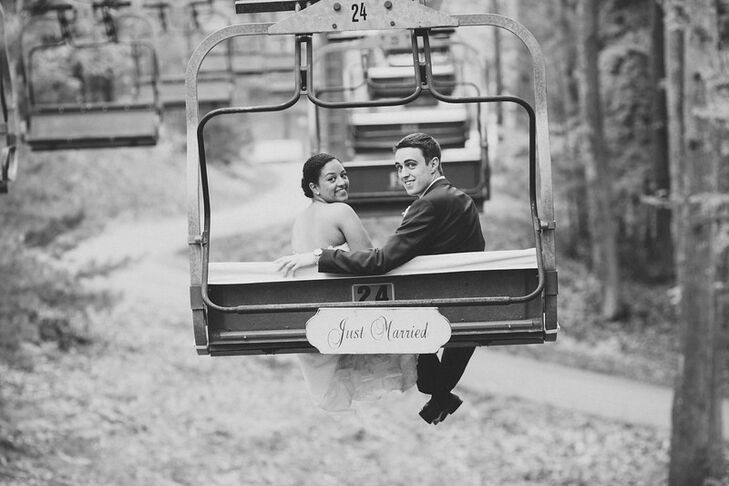 "The couple rode the chairlift down after the ceremony. ""It allowed us to have alone time before the reception,"" Kelsey says."