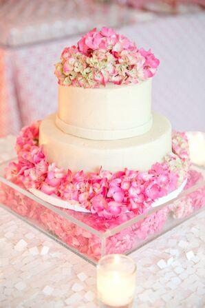 Pink Hydrangea-Topped Wedding Cake
