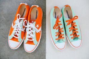 Custom Aqua and Tangerine Dancing Converse Shoes