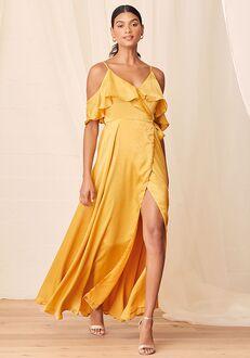 Lulus Moriah Mustard Yellow Satin Wrap Maxi Dress V-Neck Bridesmaid Dress