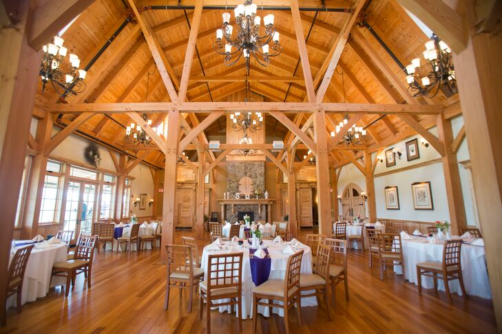 """""""I love the barn look and feel but since I was planning our wedding from Delaware, I didn't want to commit to a barn location that required catering and rentals,"""" says Juli. """"We looked at the Red Barn at The Outlooks Farm and it was the perfect compromise— I still got a beautiful barn look with the wood beams but we also had the convenience of a full service reception hall!"""""""