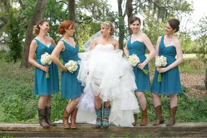 Short Teal One-Shoulder Bridesmaid Dresses