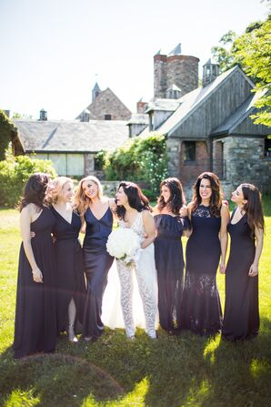 Modern Bride and Bridesmaids in Long Navy Gowns