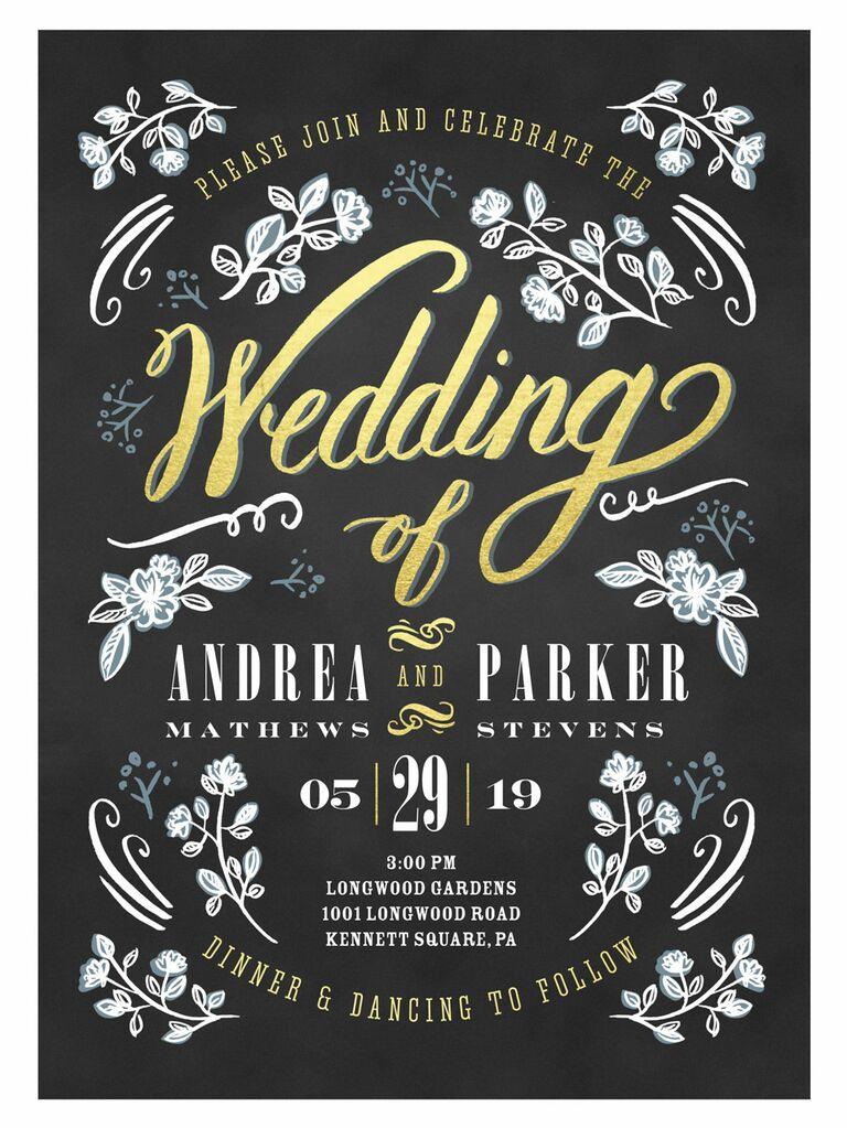 Shutterfly chalkboard floral spring wedding invitation