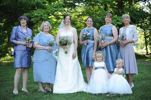 Organza Wedding Dress and Sea Blue Bridesmaid Dresses