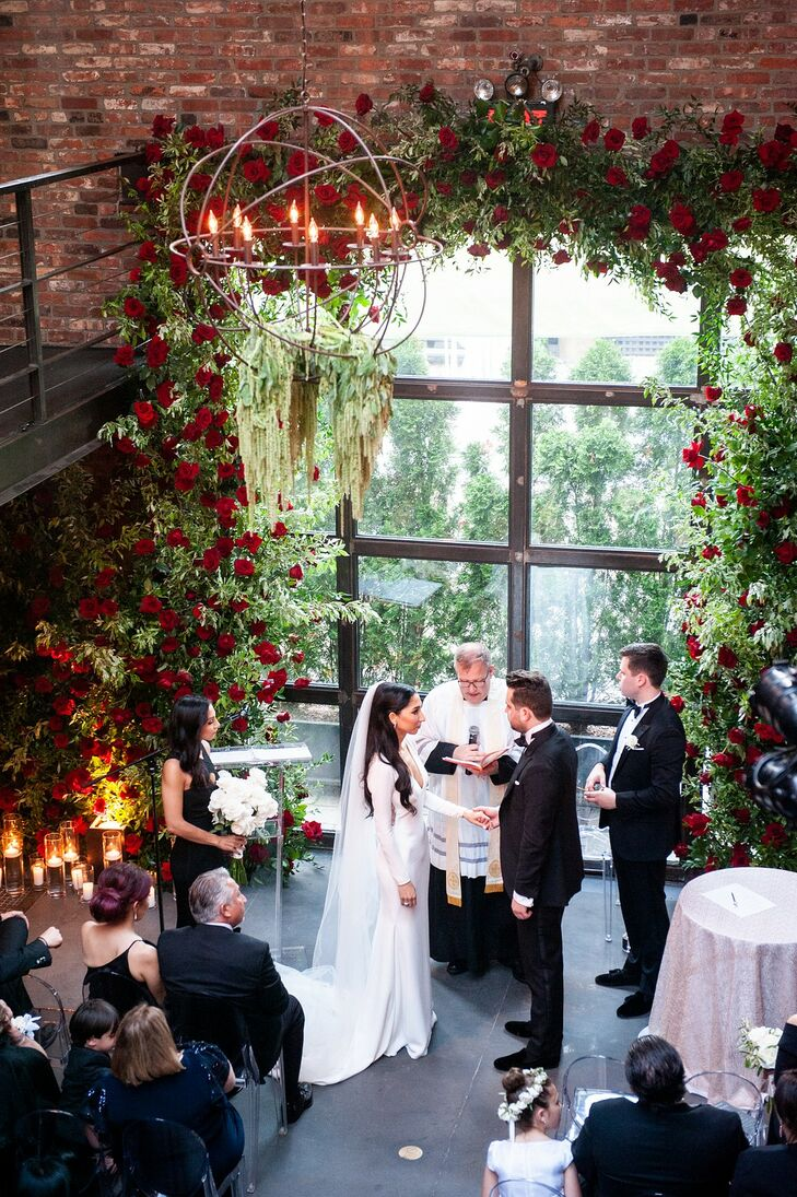 Industrial, Luxurious Ceremony with Windows, Rustic Chandelier and Greenery with Roses