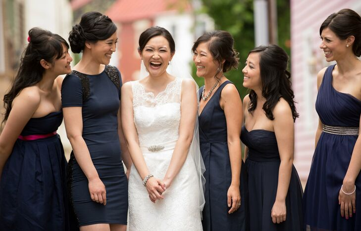 I had five bridesmaids, all of whom were spread out across the country, says Marietta. I thought it would be easiest if I had them all choose their own dresses; the only criteria I told them were short, knee-length and navy.