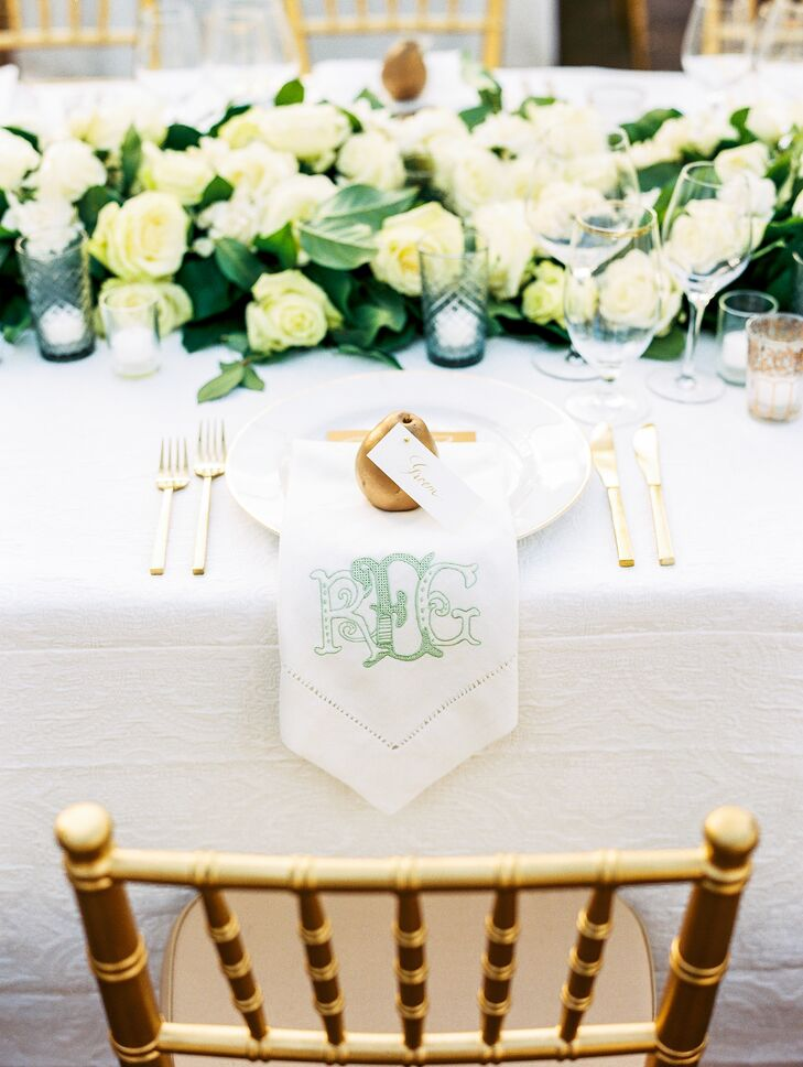 Preppy Monogrammed Linens with Gold Pear Place Setting