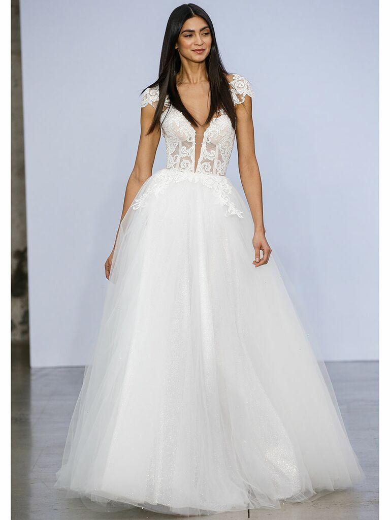 Pnina Tournai wedding dress short-sleeve ball gown plunge front
