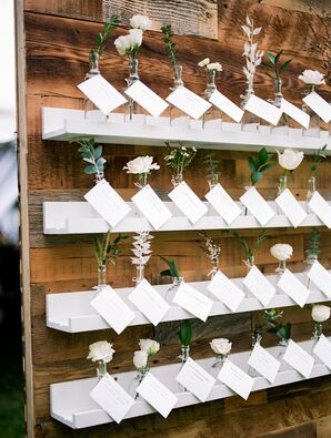 Rustic Place Card Display with Shelves and Flowers