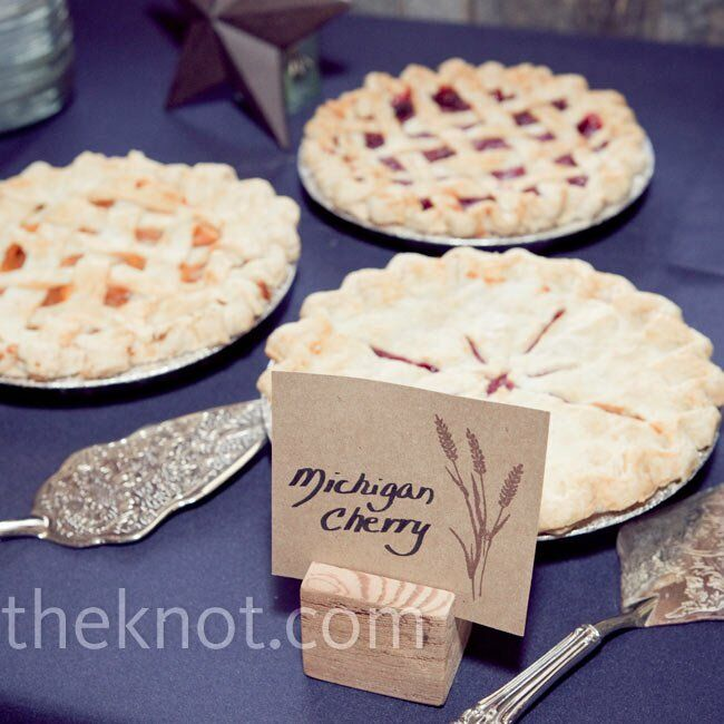 Neither the bride nor the groom are fans of cake, so they treated guests to a pie bar featuring five flavors.