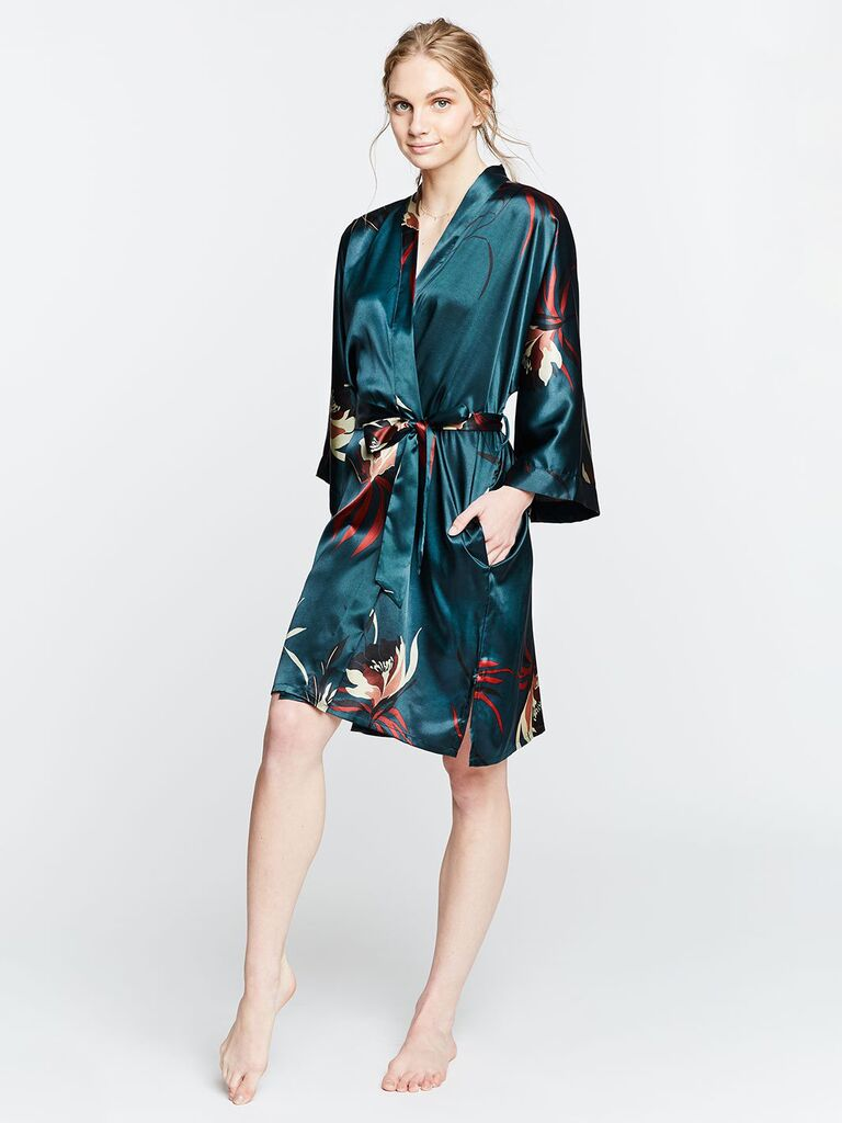 Green floral bridesmaid robe