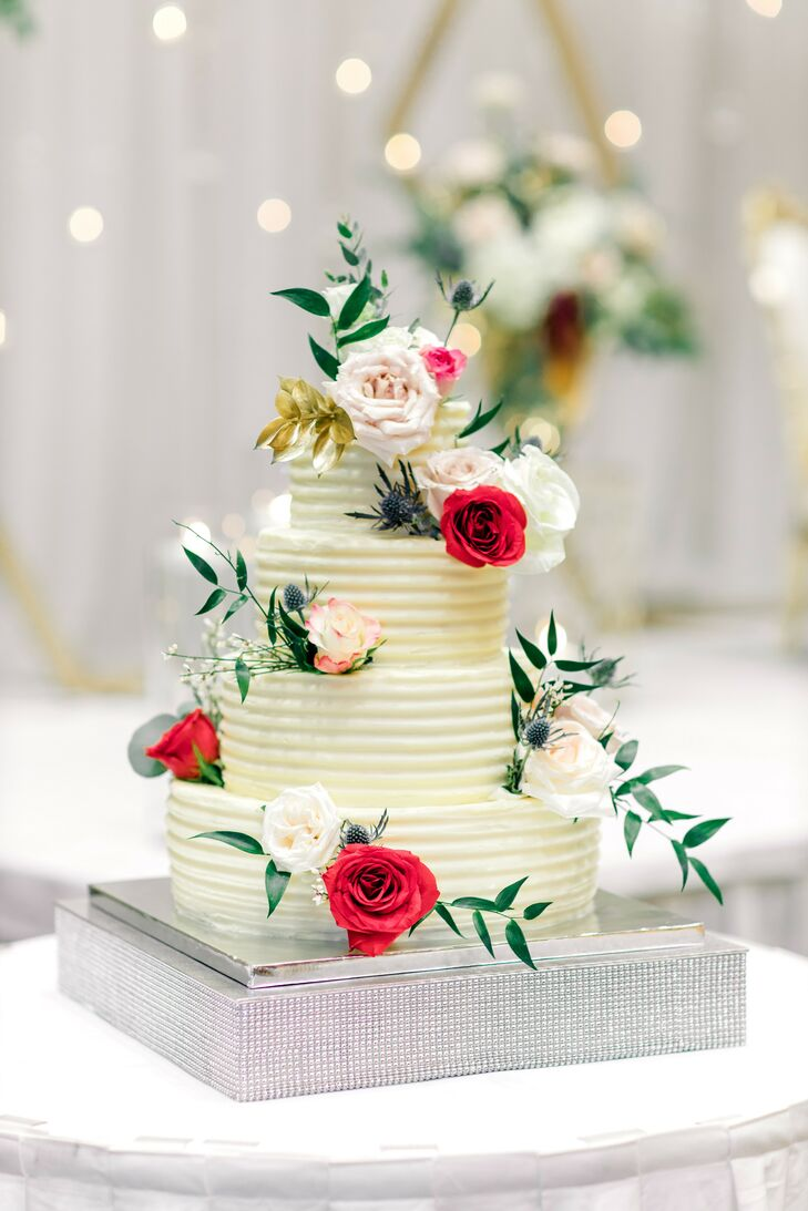 Romantic Wedding Cake with Roses at the Durham Convention Center in North Carolina