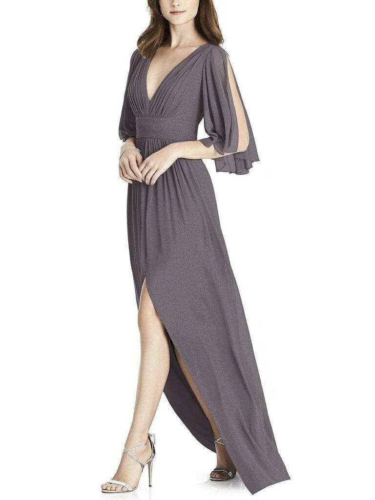 Dark silver gray bridesmaid dress
