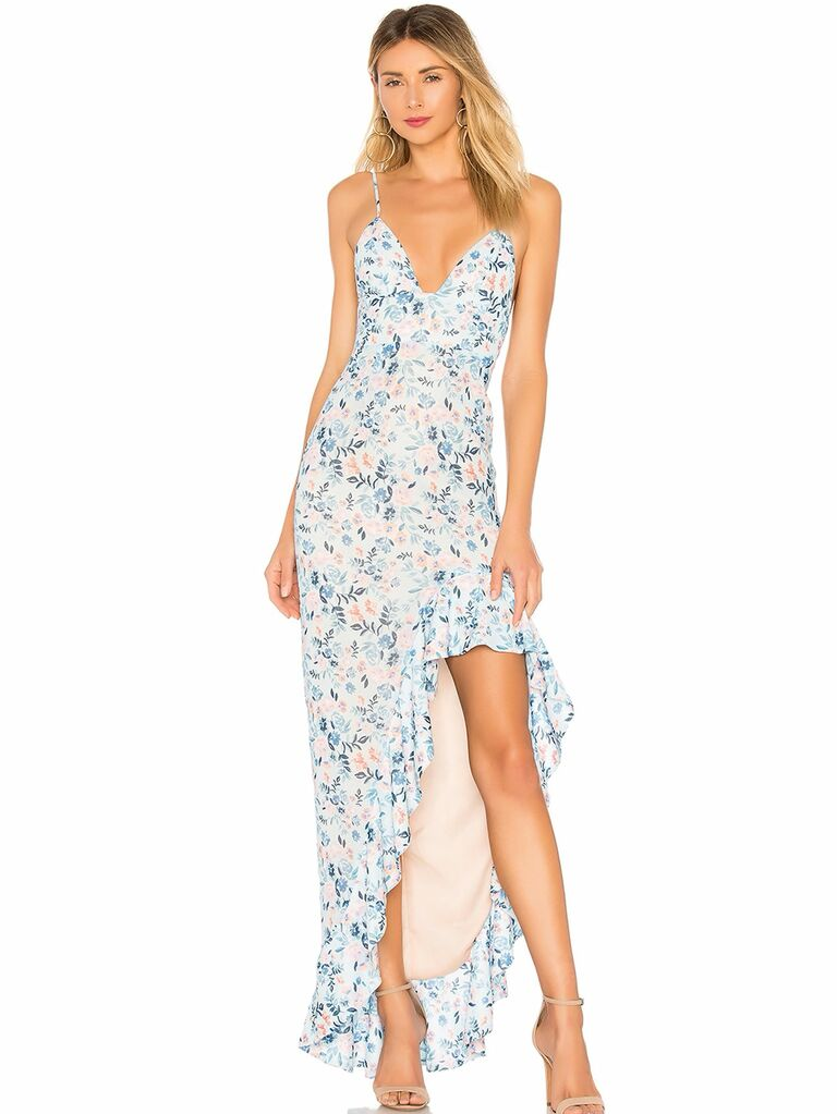 floral print high-low dress with skinny straps