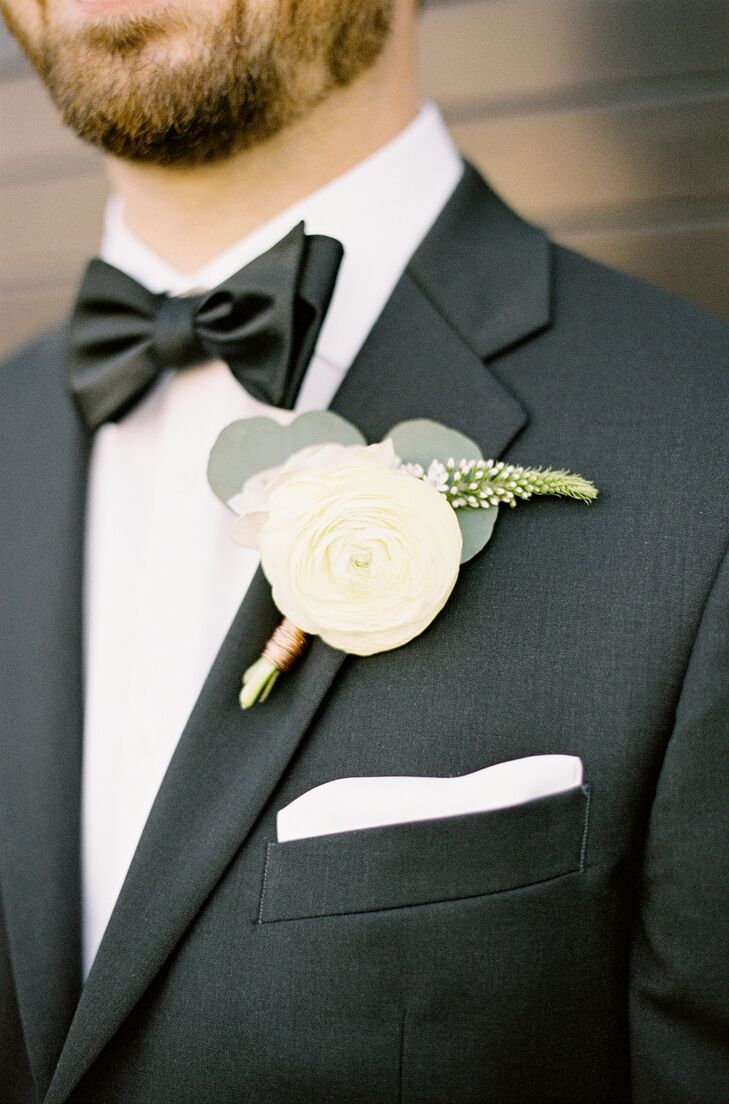 Ivory Ranunculus and Eucalyptus Boutonniere